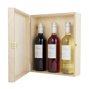 Image of Three Bottle Hinged Wooden Wine Box