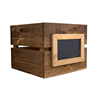 Image of Square Wooden Crate with Framed Chalkboard