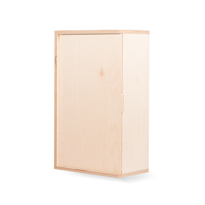 Image of Two Bottle Integral Hinged Wooden Box