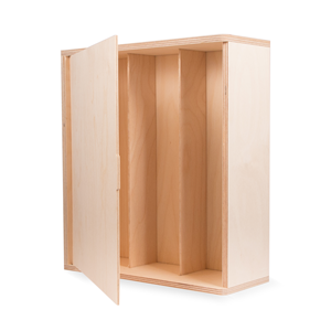 Image of Three Bottle Integral Hinged Wooden Box