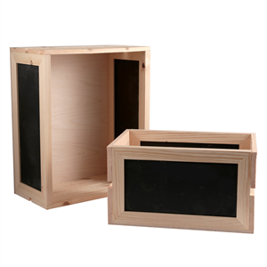 Image of 2 Slat Crates with Chalkboard Sides