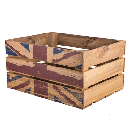 Image of Union Jack Printed Large Wooden Crate