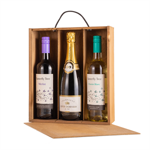Image of Gold Cedar - 3 Bottle Sliding Lid Wine Box