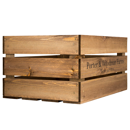 Image of Large Wooden Crate - Printed P&W Farm
